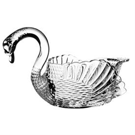 "-,SWAN PRINCESS CRYSTAL BOWL. 11.5"" LONG, 6.5"" WIDE, 7.2"" TALL"