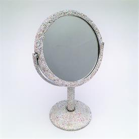 "-,SMALL SWIVEL VANITY MIRROR WITH PAVE CRYSTALS. ONE REGULAR SIDE, ONE SIDE 1X MAGNIFICATION. 10"" TALL"