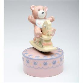 "-,ROCKING HORSE WITH TEDDY BEAR MUSIC BOX. PLAYS 'TEDDY BEAR'S PICNIC'. 3"" WIDE, 4"" TALL"