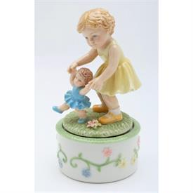"-SISTERS PLAYING MUSIC BOX. PLAYS 'IT'S A SMALL WORLD'. 3.25"" LONG, 3"" WIDE, 4.6"" TALL"