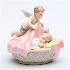 "-,ANGEL WITH BABY GIRL FIGURINE. 3.75"" LONG, 2.6"" WIDE, 3.25"" TALL"