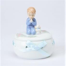 "-BOY PRAYING BOX. 2.75"" LONG, 2.25"" WIDE, 3.4"" TALL"