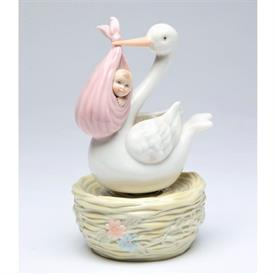 "-STORK WITH BABY GIRL MUSIC BOX. PLAYS 'BRAHM'S LULLABY'. 3.75"" WIDE, 6.2"" TALL"
