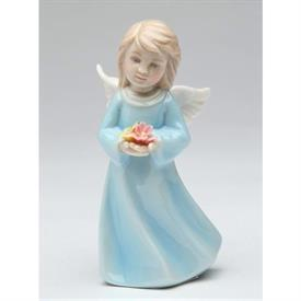 "-ANGEL WITH FLOWERS FIGURINE. 2"" WIDE, 4"" TALL"