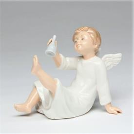 "-ANGEL WITH BELL FIGURINE. 5.25"" LONG, 2.75"" WIDE, 2.75"" TALL"