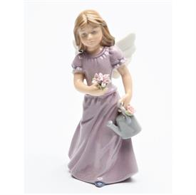 "-,ANGEL IN LAVENDER FIGURINE. 2.25"" WIDE, 5.4"" TALL"
