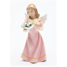 "-,ANGEL IN PINK FIGURINE. 2.25"" WIDE, 5.4"" TALL"
