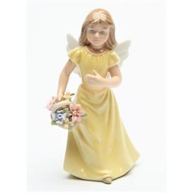 "-,ANGEL IN YELLOW FIGURINE. 2.25"" WIDE, 5.4"" TALL"