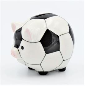 "-SOCCER PIGGY BANK. 4.5"" LONG, 3.5"" WIDE, 3.6"" TALL"
