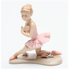 "-,BALLERINA ON ONE KNEE IN PINK FIGURINE. 4.5"" LONG, 2.75"" WIDE, 4.5"" TALL"