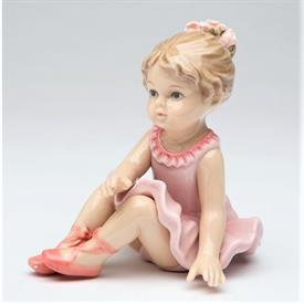 "-BALLERINA WARMING UP FIGURINE. 3.74"" LONG, 3"" WIDE, 3.75"" TALL"