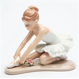 "-,BALLERINA STRETCHING IN WHITE. 4.5"" LONG, 2.75"" WIDE, 3.8"" TALL"