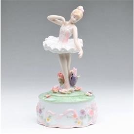 """-,BALLERINA WITH FLOWERS MUSIC BOX. 4"""" WIDE, 7.5"""" TALL"""