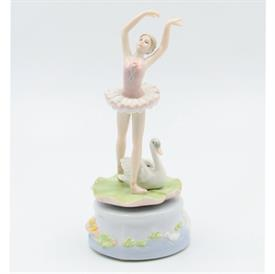 "-,BALLERINA WITH SWAN MUSIC BOX. PLAYS 'SWAN LAKE' 3.8"" WIDE, 7.4"" TALL"