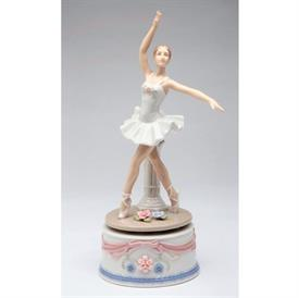 "-,BALLERINA IN WHITE MUSIC BOX. PLAYS 'BALLERINA'. 4.5"" LONG, 3.5"" WIDE, 9"" TALL"