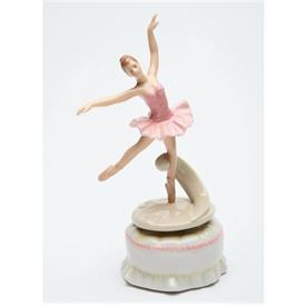 """-SPINNING BALLERINA IN PINK MUSIC BOX. 3.4"""" LONG, 3"""" WIDE, 7"""" TALL"""