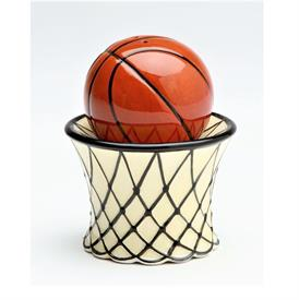 "_BASKETBALL SALT & PEPPER SHAKER SET. SALT MEASURES 1.8"" WIDE, 1.75"" TALL. PEPPER MEASURES 2.5"" WIDE, 1.75"" TALL"