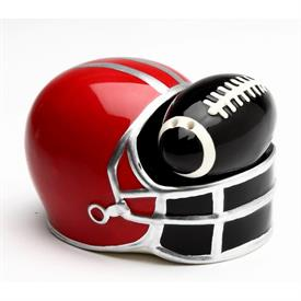 "-FOOTBALL SALT & PEPPER SHAKER SET. SALT MEASURES 2.4"" LONG, 1.25"" WIDE, 1.2"" TALL. PEPPER MEASURES 3.5"" LONG, 2.4"" WIDE, 2.4"" TALL"