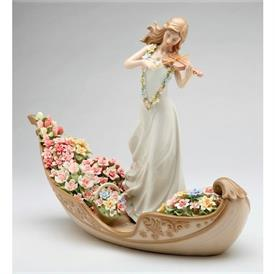 "-,'FLOWERING INSPIRATION' VIOLINIST IN GONDOLA FIGURINE. 13.25"" LONG, 4.8"" WIDE, 10"" TALL"