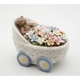 "-:BEAR WITH FLOWERS IN BUGGY FIGURINE. 3.4"" LONG, 2.2"" WIDE, 2.5"" TALL"