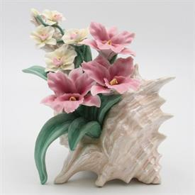"-,ORCHIDS IN SHEASHELL FIGURINE. 8.25"" TALL, 6.25"" WIDE"