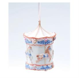 "-CAROUSEL MUSICAL ORNAMENT. PLAYS 'LET ME CALL YOU SWEETHEART'. 2.25"" WIDE, 3.5"" TALL"