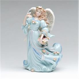 """-,ANGEL WITH BUTTERFLY & BASKET OF FLOWERS MUSIC BOX. PLAYS 'THE WIND BENEATH MY WINGS'. 5.25"""" LONG, 4.25"""" WIDE, 8.2"""" TALL"""