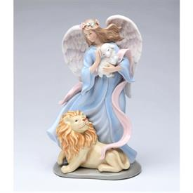 """-,'ETERNAL PEACE' ANGEL WITH LION & LAMB MUSIC BOX. PLAYS 'A WHOLE NEW WORLD'. 5"""" LONG, 4"""" WIDE. 8.25"""" TALL"""