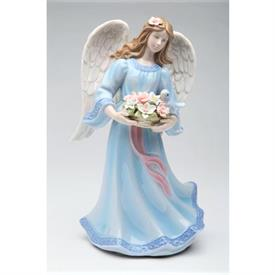 "-,ANGEL WITH BIRD & BASKET OF FLOWERS MUSIC BOX. PLAYS 'MORNING' FROM PEER GYNT. 5"" LONG, 4.5"" WIDE, 8"" TALL"
