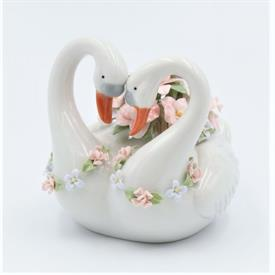 """-,PAIR OF SWANS MUSIC BOX. PLAYS 'MEMORY'. 4.8"""" LONG, 4.25"""" WIDE, 4.5"""" TALL"""