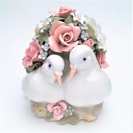 "-,LOVE BIRDS MUSIC BOX. PLAYS 'I LOVE YOU TRULY'. 6.2"" LONG, 5.6"" WIDE, 6.6"" TALL"