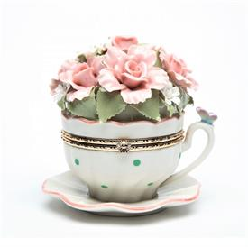 """-CUP WITH FLOWERS LIMOGES STYLE MUSIC BOX. PLAYS 'EVERYTHING IS BEAUTIFUL'. 4.5"""" WIDE, 4.25"""" TALL"""