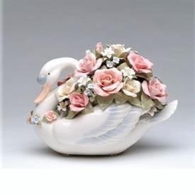 """-,LARGE SWAN WITH FLOWERS MUSIC BOX. PLAYS 'SWAN LAKE'. 10.4"""" LONG, 6"""" WIDE, 7.75"""" TALL"""