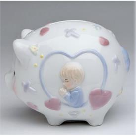 "-BOY PIGGY BANK. 4.5"" LONG, 3.5"" WIDE, 3.6"" TALL"