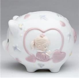 "-GIRL PIGGY BANK. 4.5"" LONG, 3.5"" WIDE, 3.6"" TALL"
