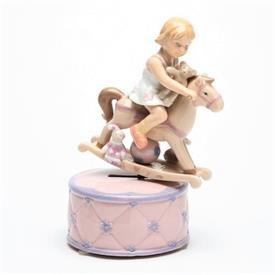 """-,GIRL ON ROCKING HORSE MUSIC BOX. PLAYS 'A PRETTY GIRL IS LIKE A MELODY'. 3.5"""" WIDE, 7.2"""" TALL"""