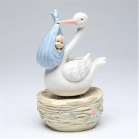 "-,STORK WITH BABY BOY MUSIC BOX. PLAYS 'BRAHM'S LULLABY'. 3.75"" WIDE, 6.2"" TALL"