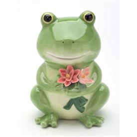"-FROG PIGGY BANK. 4"" LONG, 3.75"" WIDE, 5"" TALL"