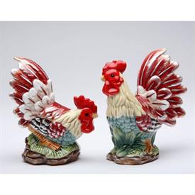 "_RED ROOSTER SALT & PEPPER SHAKER SET. SALT 3.6"" LONG, 2.4"" WIDE, 4.5"" TALL. PEPPER 4.4"" LONG, 2.5"" WIDE, 4.4"" TALL"