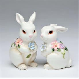 "-FLORAL BUNNY SALT & PEPPER SHAKER SET. SALT 2.5"" LONG, 2.2"" WIDE, 3"" TALL. PEPPER 2.25"" LONG, 2"" WIDE, 3.75"" TALL"