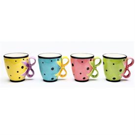 """_,SET OF 4 'DILLY DOTS' TEACUPS/MUGS. 4.6"""" LONG, 3.6"""" WIDE, 4""""TALL. 10 OZ CAPACITY."""