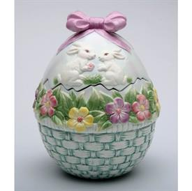 """-,EGG SHAPED COOKIE JAR. 7.4"""" TALL, 5.5"""" WIDE"""