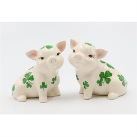 "-:SHAMROCK PIGS SALT & PEPPER SHAKER SET. 3.5"" TALL"