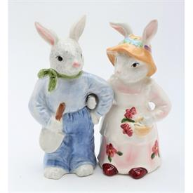 "-'ROSY RABBITS' SALT & PEPPER SHAKER SET. 4.5"" TALL"