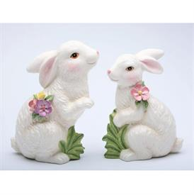 """-SET OF 2 BUNNY FIGURINES. LARGE 5.8"""" LONG, 2.6"""" WIDE, 7.25"""" TALL. SMALL 5"""" LONG, 2.5"""" WIDE, 6.4"""" TALL"""