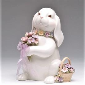 """-,BUNNY WITH BOUQUET MUSIC BOX. PLAYS 'WHAT A WONDERFUL WORLD'. 8"""" TALL"""