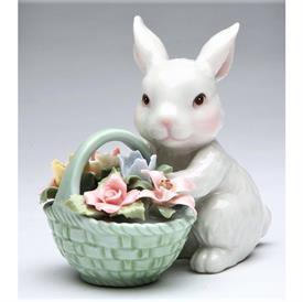 """-BUNNY WITH BASKET OF FLOWERS FIGURINE. 3.5"""" LONG, 2.6"""" WIDE, 3.6"""" TALL"""