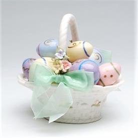 """-,EGG BASKET MUSIC BOX. PLAYS 'MY FAVORITE THINGS'. 5.75"""" LONG, 5.5"""" WIDE, 5.5"""" TALL."""