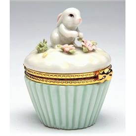 """-BUNNY CUPCAKE LIMOGES STYLE TRINKET BOX. 2.25"""" WIDE, 2.75"""" TALL"""