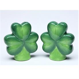 "-SHAMROCK SALT & PEPPER SHAKER SET. 2.6"" LONG, 2.5"" TALL"